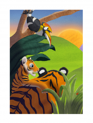Colourful Tigers Wildlife in Jungle Canvas Wall Art Picture Print Various Sizes